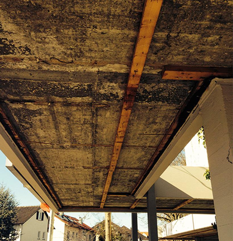 Trockenbau, Sanierung einer Gebäudevordachdecke, Walter Schnee Anstrich und Bautenschutz